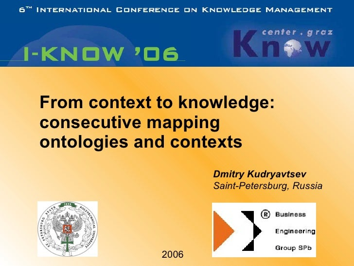 From context to knowledge: consecutive mapping ontologies and contexts