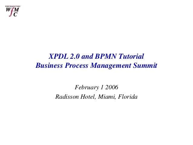 XPDL 2.0 and BPMN TutorialBusiness Process Management Summit            February 1 2006     Radisson Hotel, Miami, Florida