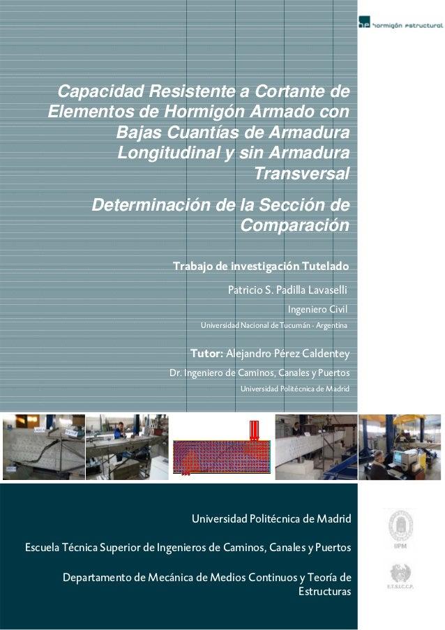 Capacidad Resistente a Cortante de    Elementos de Hormigón Armado con           Bajas Cuantías de Armadura           Long...