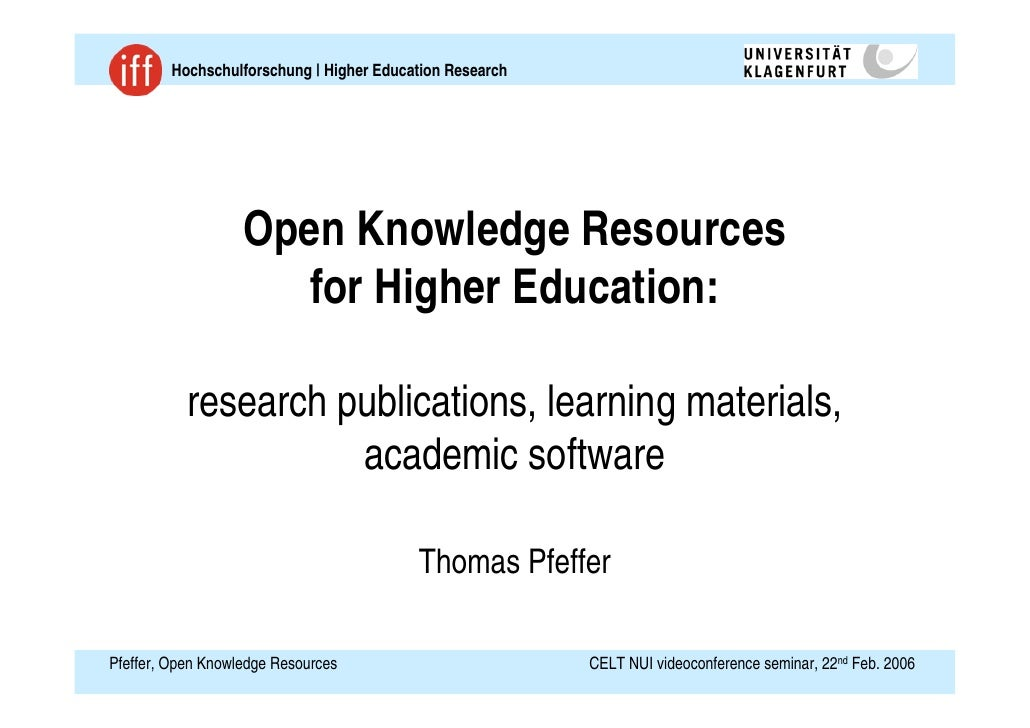 2006 Pfeffer Open Knowledge Resources Slides