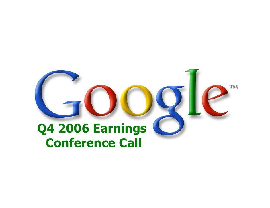 2006 Q4 Google Earnings Slides