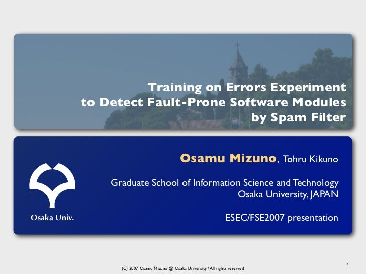 Training on Errors Experiment              to Detect Fault-Prone Software Modules                                        b...
