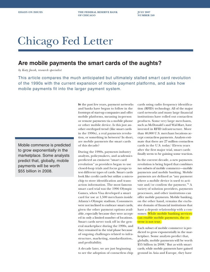 2007 09 - chicago fed letter i are mobile payments the smart cards of the aughts
