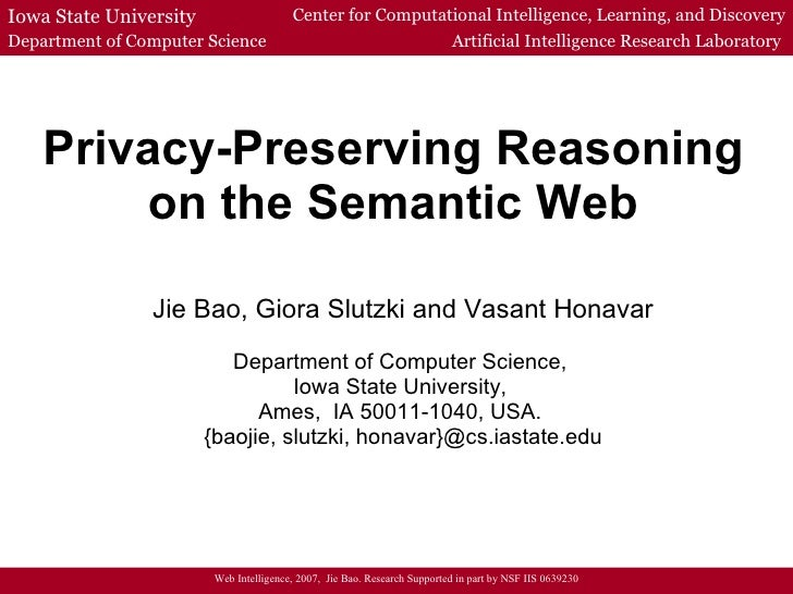 Privacy-Preserving Reasoning on the Semantic Web