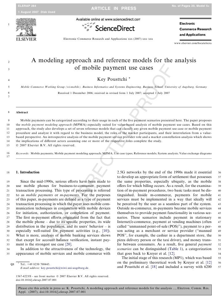2007 10 - science direct - a modeling approach and reference models for the analysis of mobile payment use cases