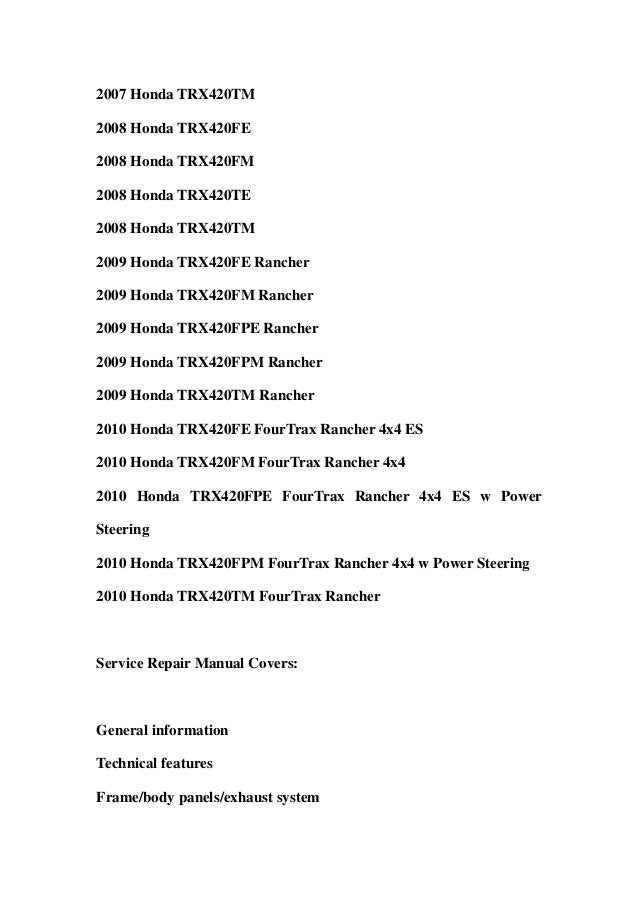B F D C besides Honda Trx Fe Fm Te Tm Fpe Fpm Rancher Service Repair Workshop Manual Download further Honda Rancher Rancher Foreman Foreman Benz Silent Rider Silencer Exhaust also  additionally Honda Trx R Er Sportrax Atv Service Manual Page. on honda foreman 400 service manual