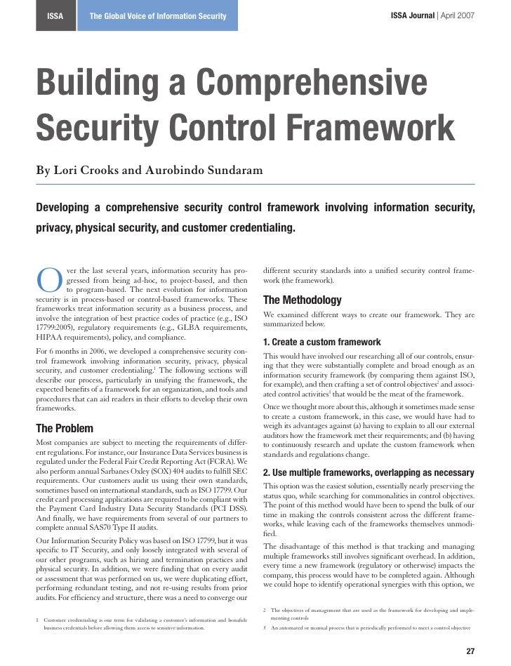 2007 issa journal-building a comprehensive security control framework