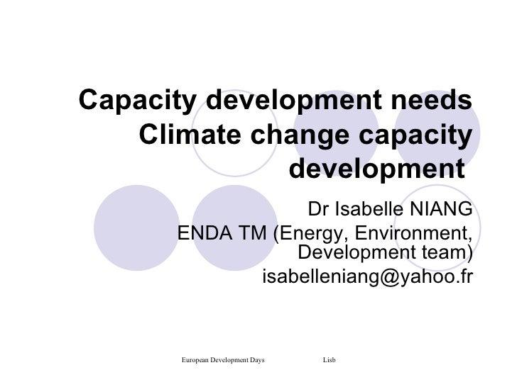 Capacity Development needs Climate Change Capacity Development