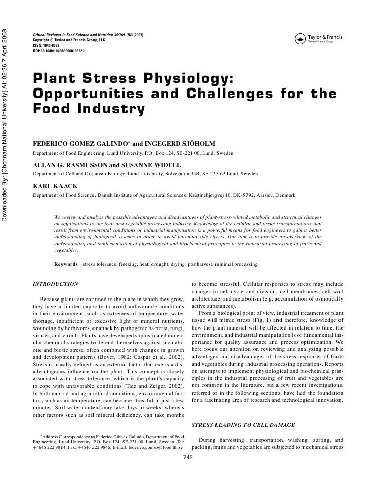 2007 plant stress physiology- opportunities and challenges for the food industry