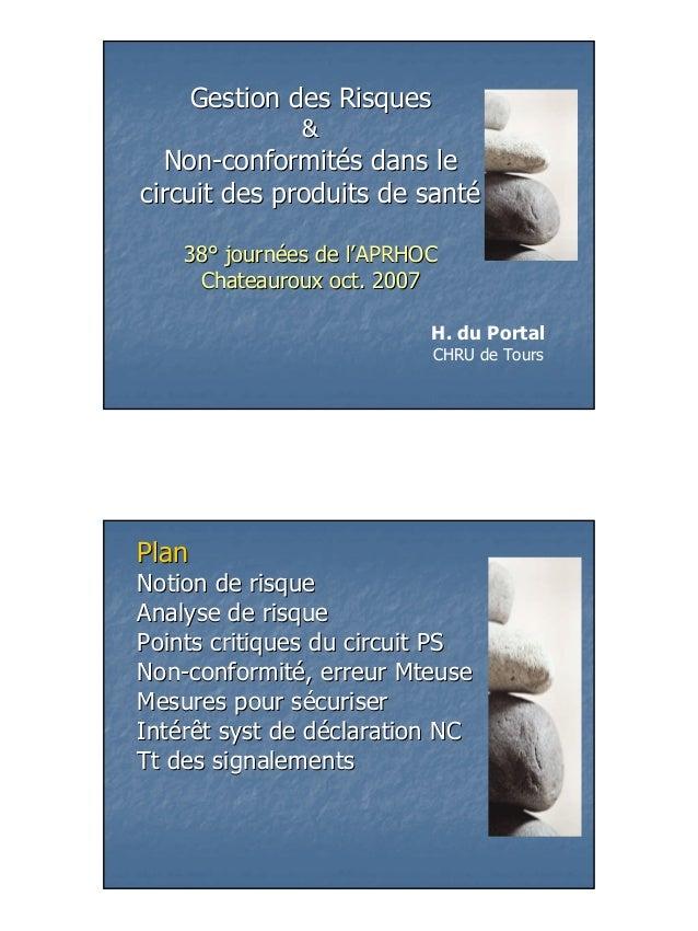 Gestion des Risques               &  Non-conformités dans lecircuit des produits de santé    38° journées de l'APRHOC     ...