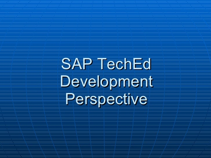 SAP TechEd Development Perspective