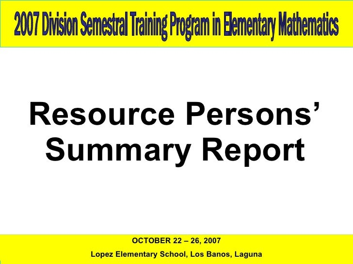 2007 Training Program In Elementary Mathematics 1