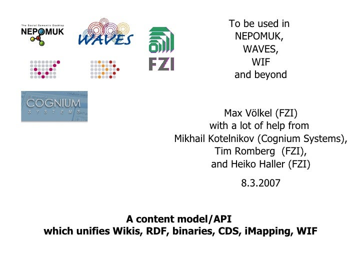 A content model/API  which unifies Wikis, RDF, binaries, CDS, iMapping, WIF To be used in  NEPOMUK,  WAVES, WIF and beyond...