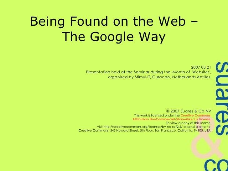 Being Found - The Google Way