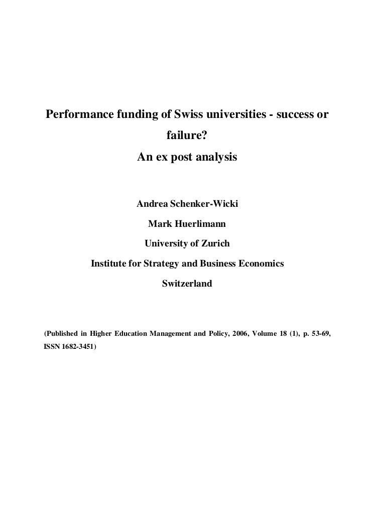 Performance funding of Swiss universities - success or                                        failure?                    ...