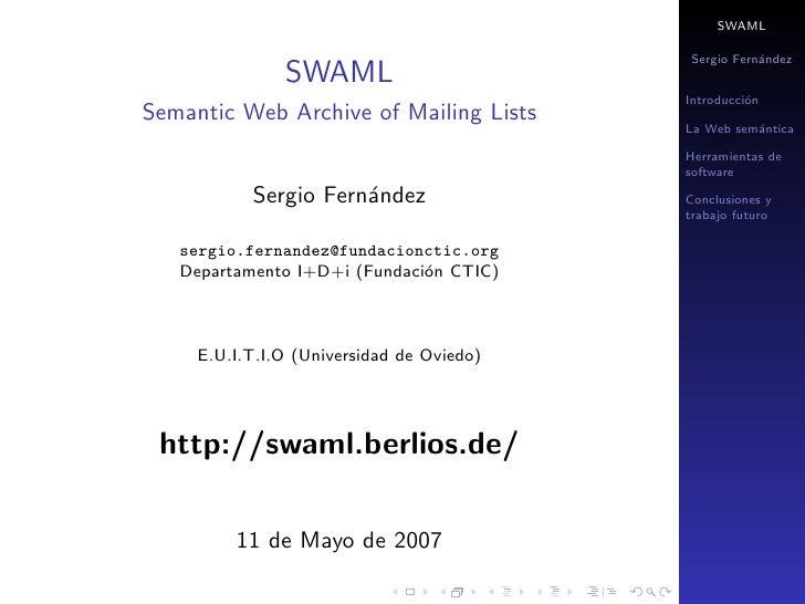 SWAML                                             Sergio Fern´ndez                                                       a...