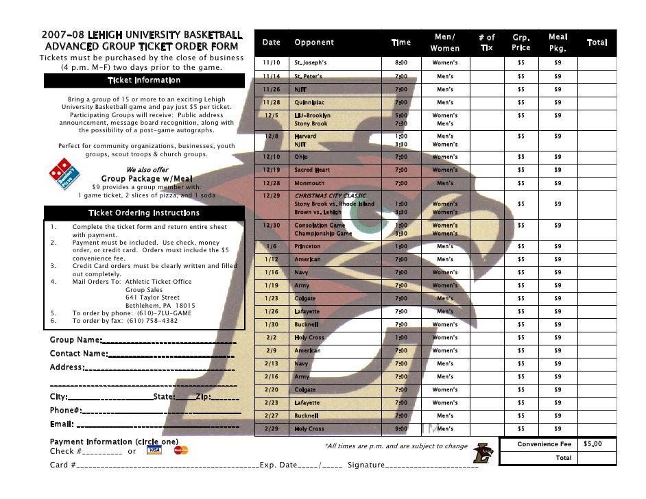 2007-08 Lehigh Basketball Group Ticket Information