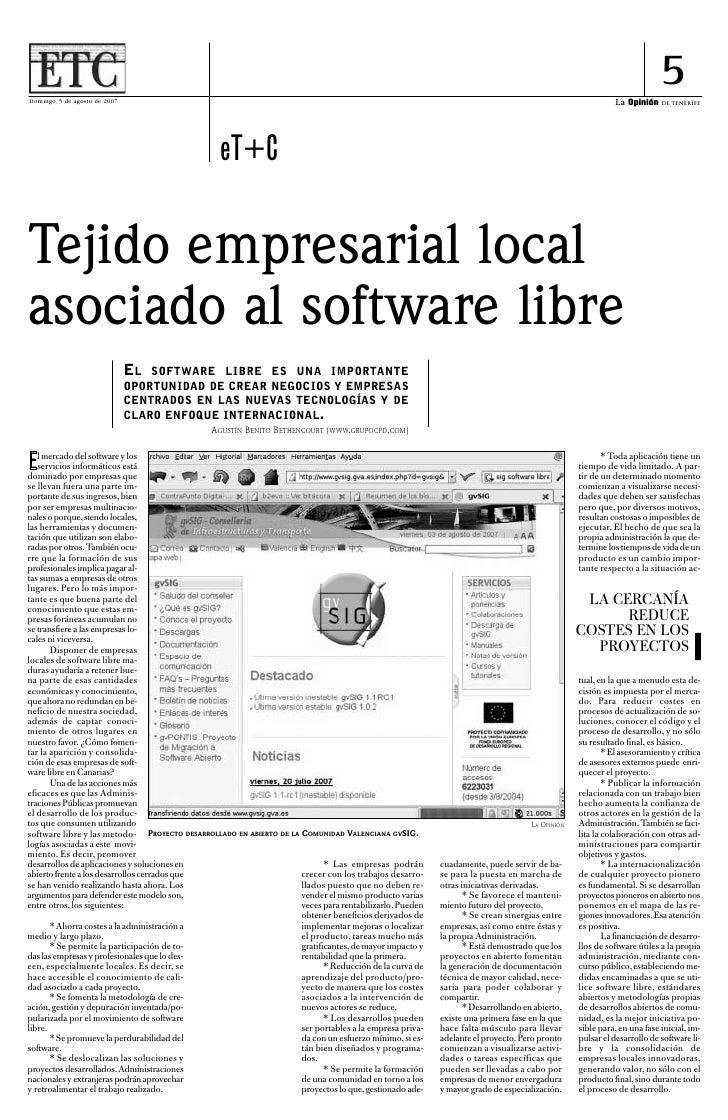Tejido Empresarial Local asociado al Software Libre