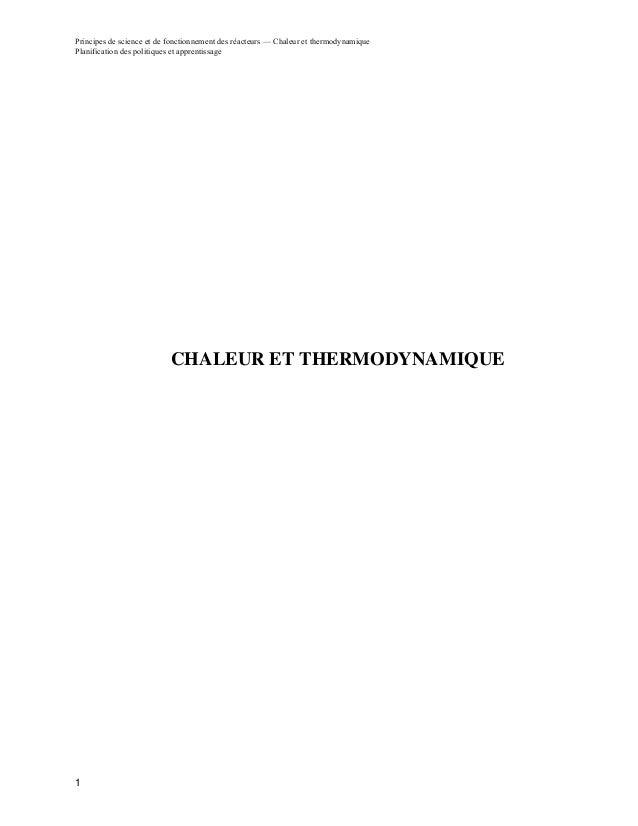 Principes de science et de fonctionnement des réacteurs — Chaleur et thermodynamiquePlanification des politiques et appren...