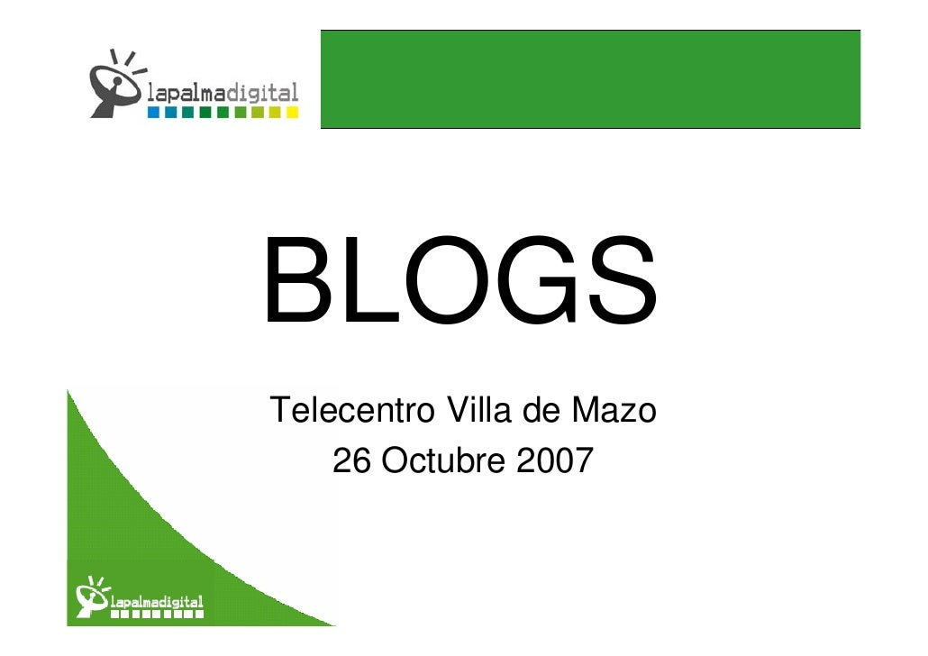 BLOGS Telecentro Villa de Mazo     26 Octubre 2007