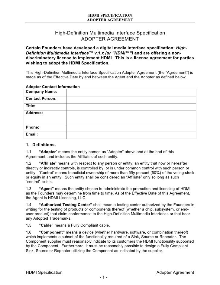 2007 10 Hdmi Adopter Agreement Final