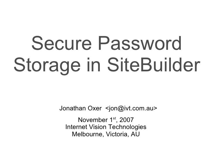 Encrypted password storage