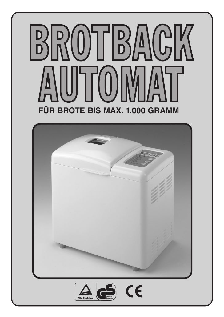 Brotbackautomat WK84300 Bread Maker Booklet