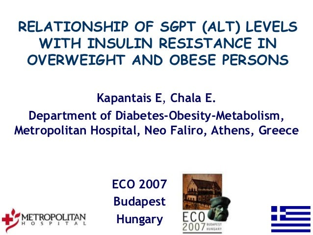 RELATIONSHIP OF SGPT (ALT) LEVELS  WITH INSULIN RESISTANCE IN OVERWEIGHT AND OBESE PERSONS              Kapantais E, Chala...