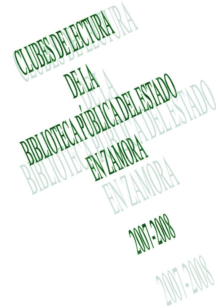 2007_2008 Actas Del Club de Lectura Bib. Púb. de ZAMORA