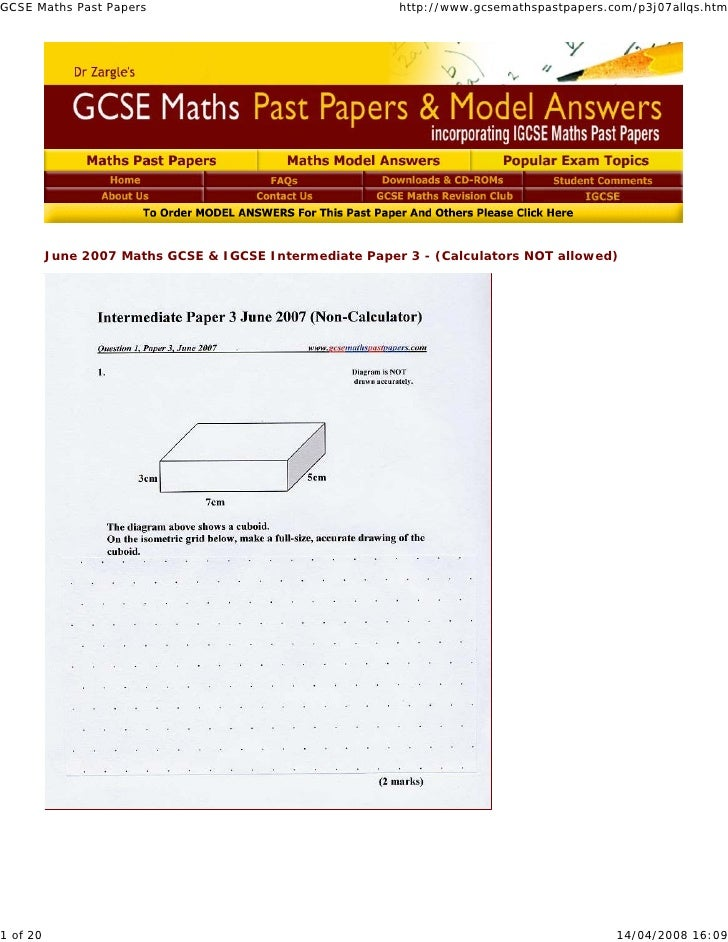 GCSE Maths Past Papers                                   http://www.gcsemathspastpapers.com/p3j07allqs.htm          June 2...