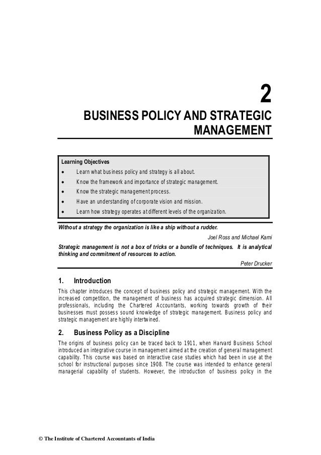 2                   BUSINESS POLICY AND STRATEGIC                                    MANAGEMENT         Learning Objective...