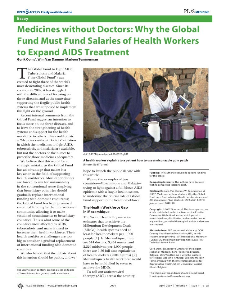 Essay  Medicines without Doctors: Why the Global Fund Must Fund Salaries of Health Workers to Expand AIDS Treatment Gorik ...