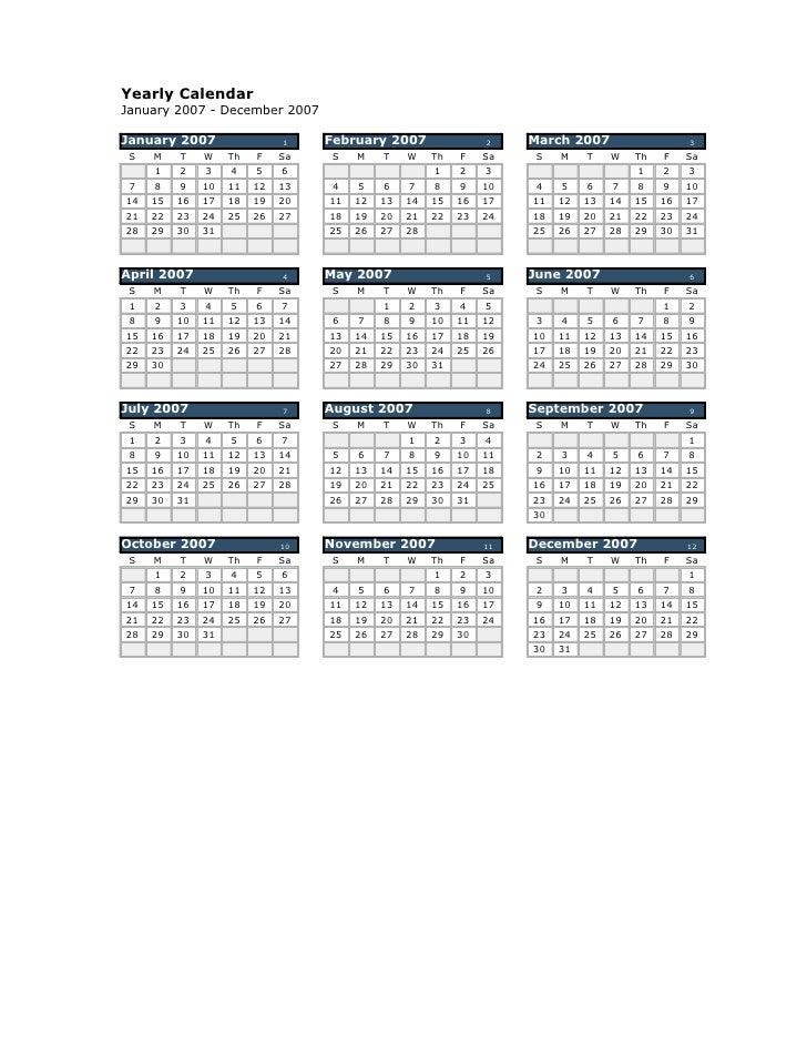 Yearly Calendar January 2007 - December 2007  January 2007                  1    February 2007                 2    March ...