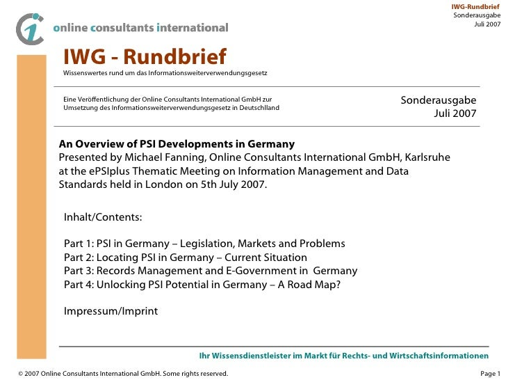 Overview of PSI developments in Germany
