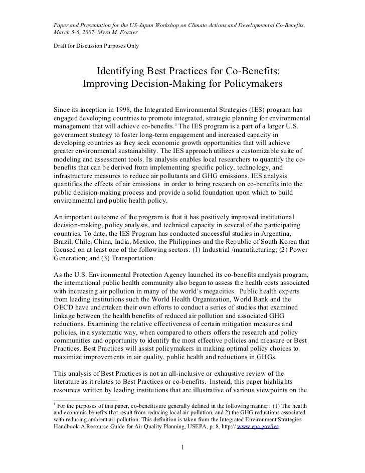 Paper and Presentation for the US-Japan Workshop on Climate Actions and Developmental Co-Benefits,March 5-6, 2007- Myra M....