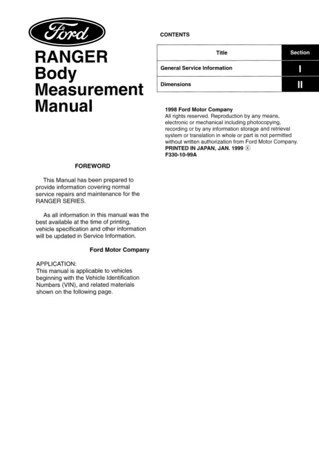 CONTENTS Title  Section  General Information Dimensions  Body Measurement Manual FOREWORD This manual has been prepared to...