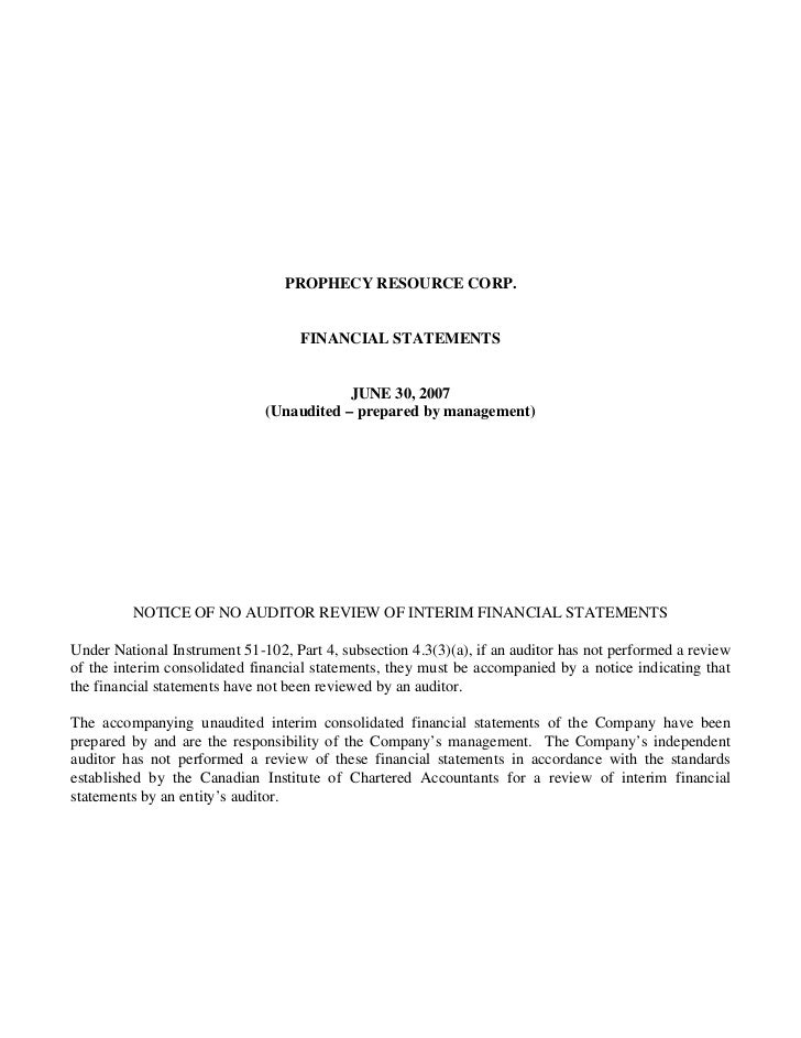 PROPHECY RESOURCE CORP.                                    FINANCIAL STATEMENTS                                          J...