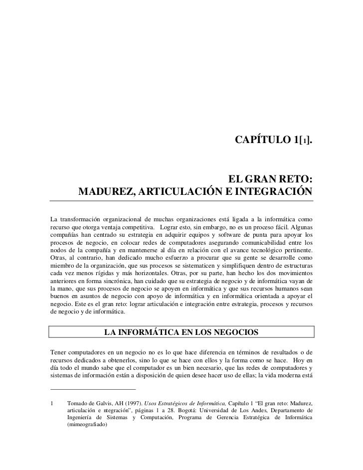 CAPÍTULO 1[1].                                EL GRAN RETO:          MADUREZ, ARTICULACIÓN E INTEGRACIÓNLa transformación ...