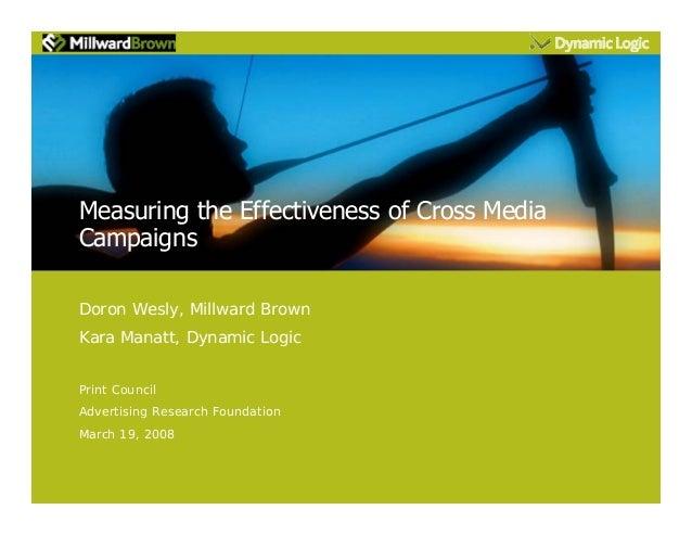 Measuring the Effectiveness of Cross Media Campaigns Doron Wesly, Millward Brown Kara Manatt, Dynamic Logic Print Council ...