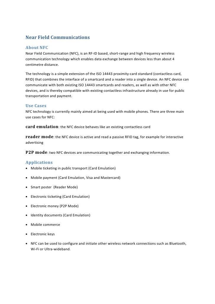 NearFieldCommunications AboutNFC NearFieldCommunication(NFC),isanRF‐IDbased,short‐rangeandhighfrequencywi...