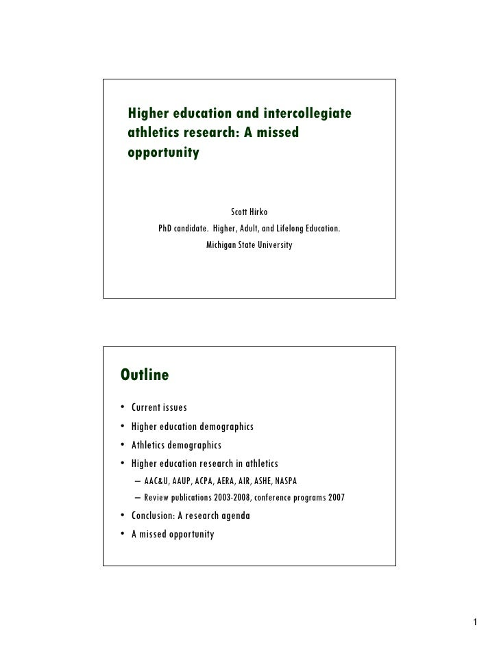 Higher education and intercollegiate     athletics research: A missed     opportunity                                  Sco...