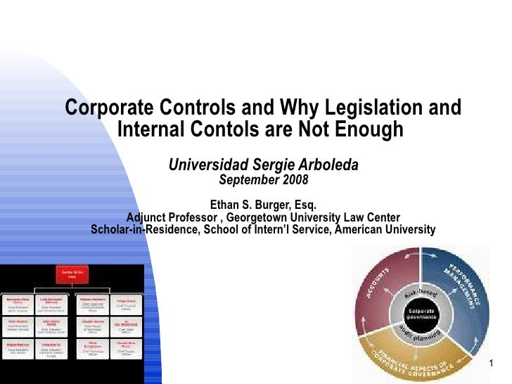 Corporate Controls and Why Legislation and Internal Contols are Not Enough  Universidad Sergie Arboleda September 2008 Eth...