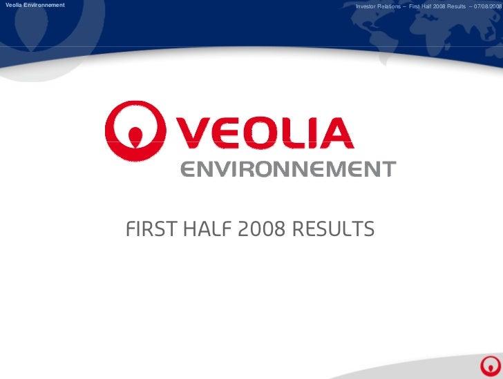 2008, First Half Results