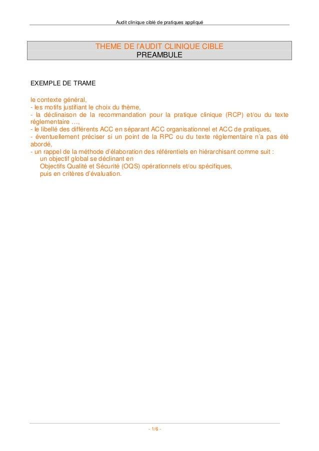 Audit clinique ciblé de pratiques appliqué                     THEME DE l'AUDIT CLINIQUE CIBLE                            ...