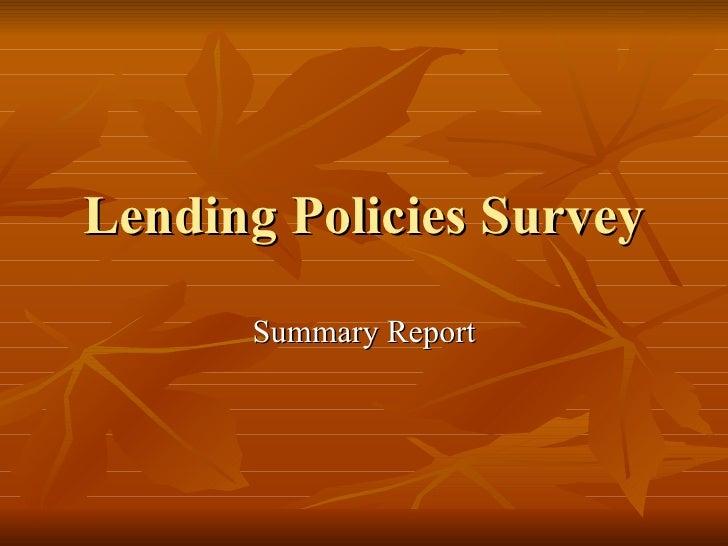 Lending Policies Survey Summary Report