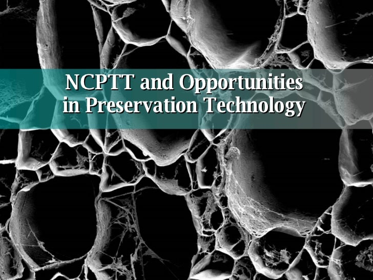 NCPTT and Opportunities  in Preservation Technology