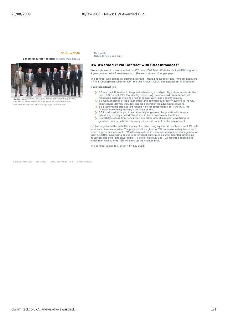 25/08/2009                                                           30/06/2008 - News: DW Awarded £12…                   ...