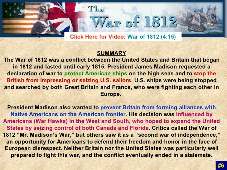 I need some topics on the war of 1812?