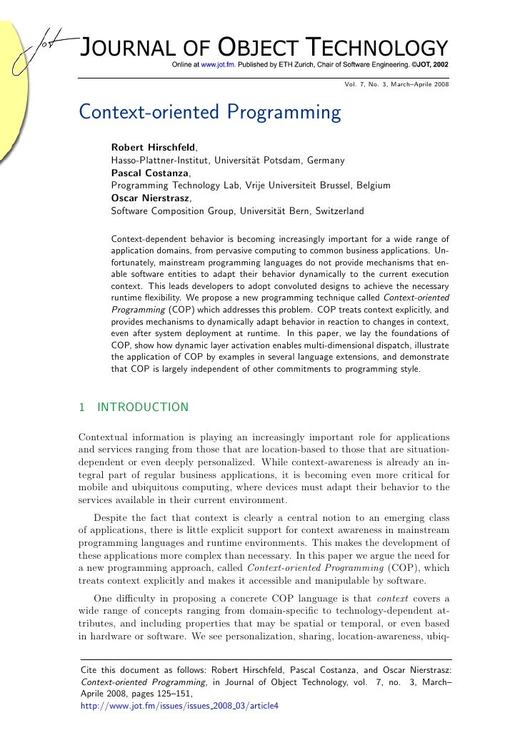 journal of object technology - context oriented programming
