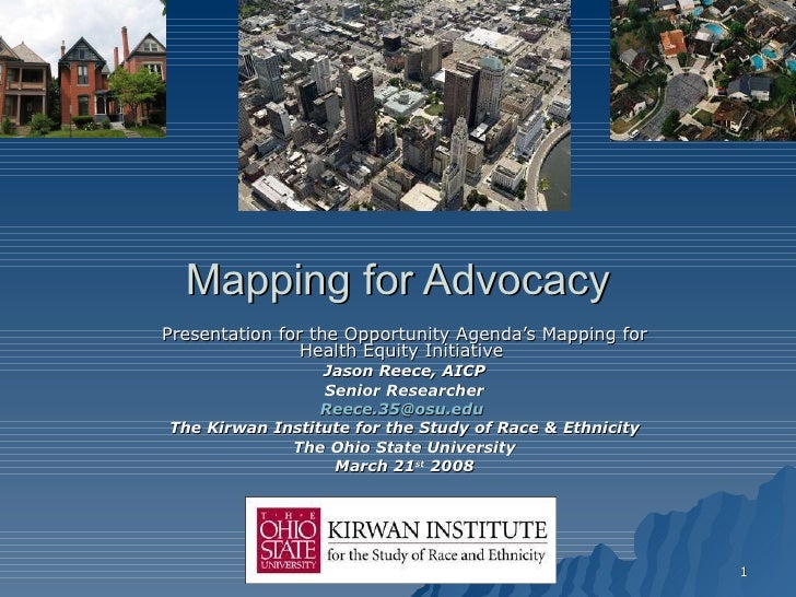 Mapping for Advocacy Presentation for the Opportunity Agenda's Mapping for Health Equity Initiative  Jason Reece, AICP Sen...